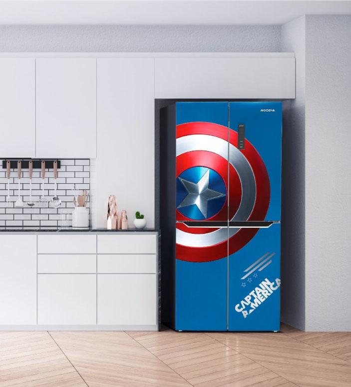 Refrigerator didesain dengan tema Marvel